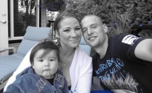 Tyson with wife Jessica and son Tyson